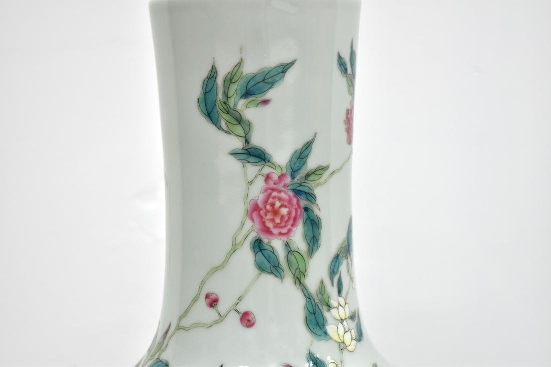 PAIR OF LARGE FAMILLE ROSE NINE PEACH VASE ON STANDS - 2