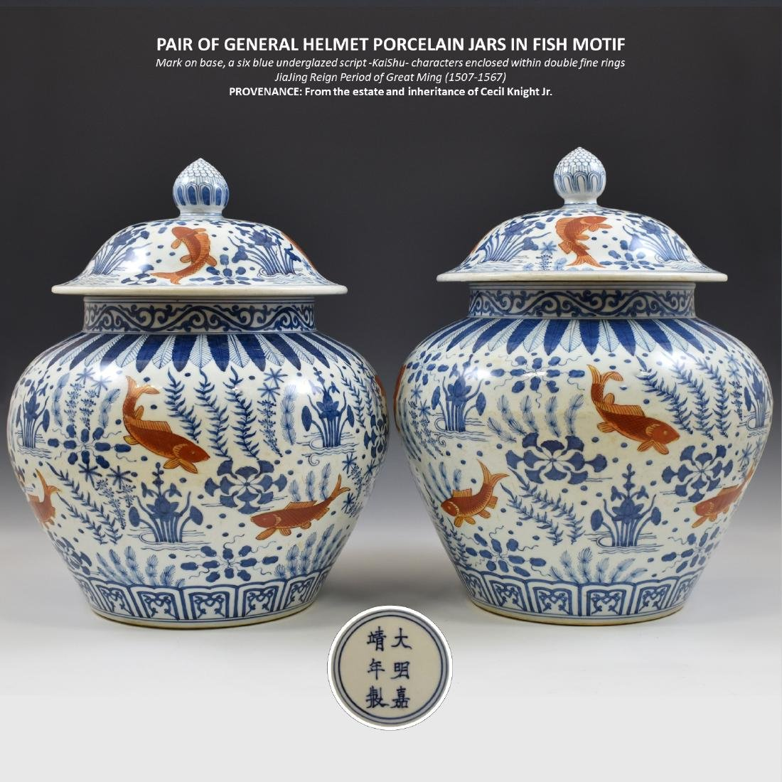 PAIR OF MING GENERAL HELMET JARS IN FISH MOTIF
