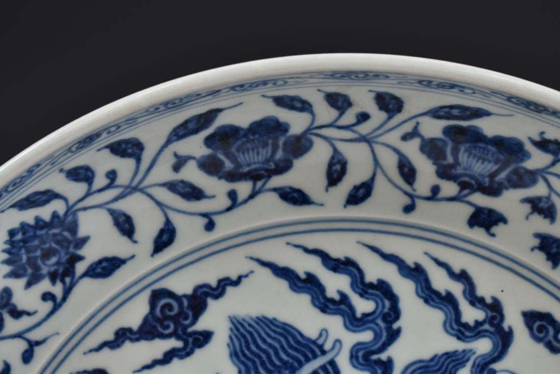 MING XUANDE BLUE & WHITE DRAGON PLATE - 4