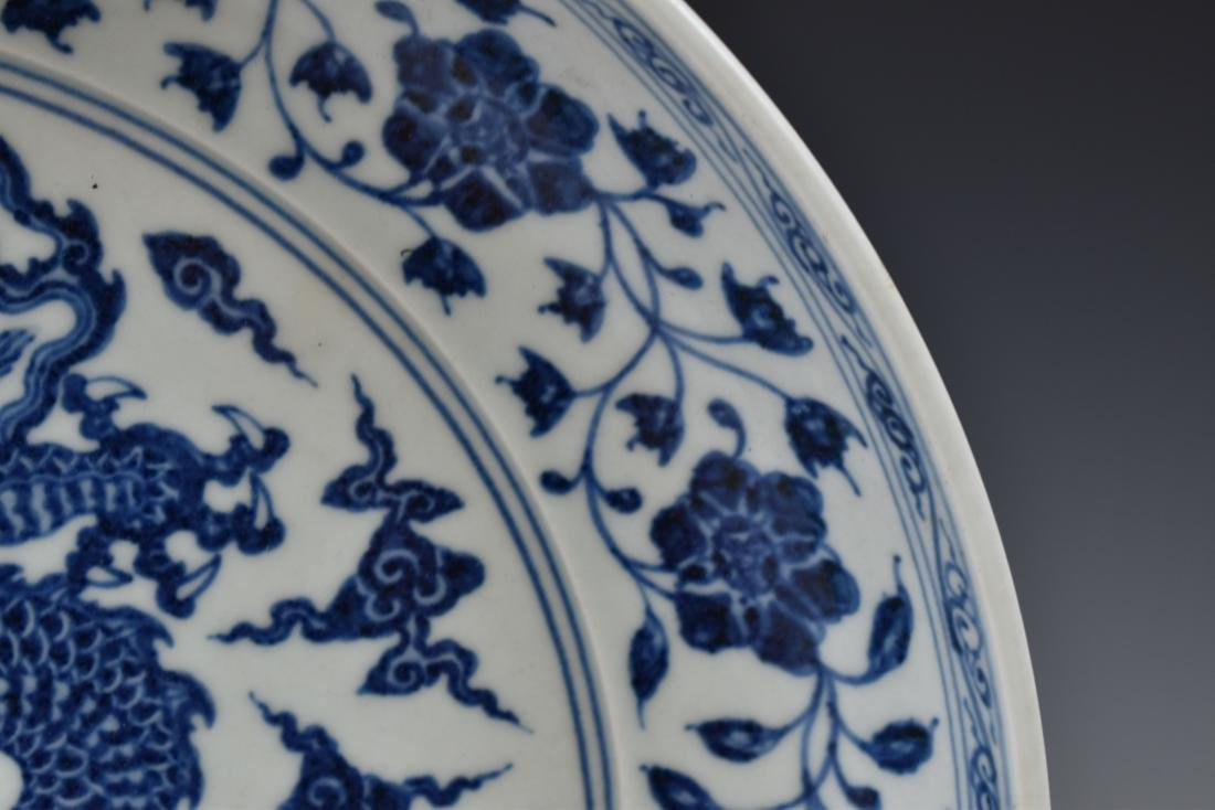 MING XUANDE BLUE & WHITE DRAGON PLATE - 6