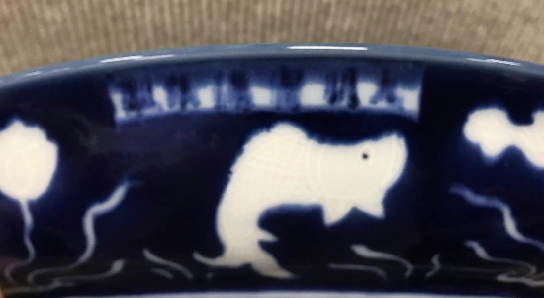 MING XUANDE REVERSED BLUE CARPS PLATE - 8