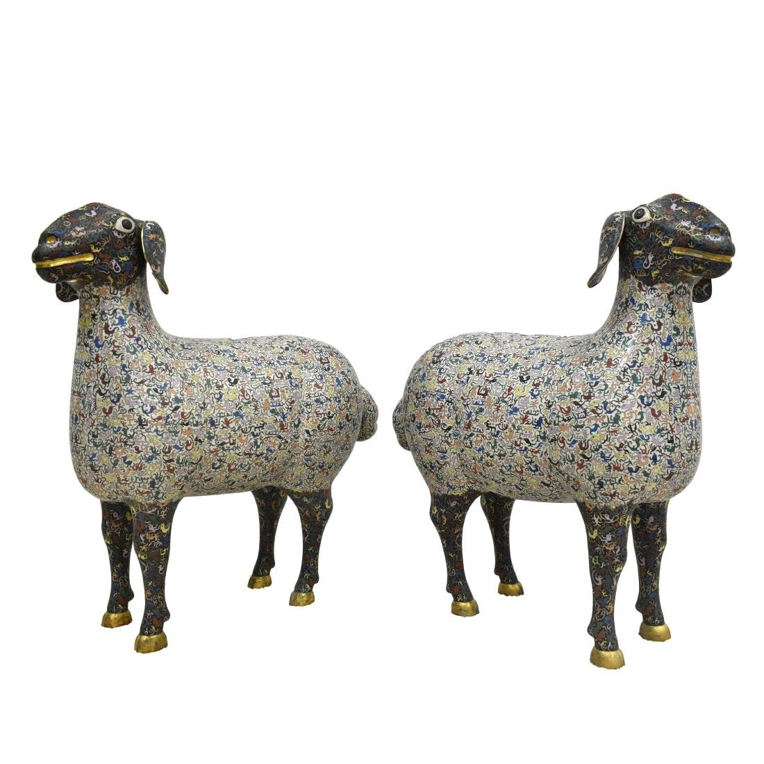 PAIR OF QING LIFE SIZE GILT BRONZE CLOISONNE SHEEP - 2