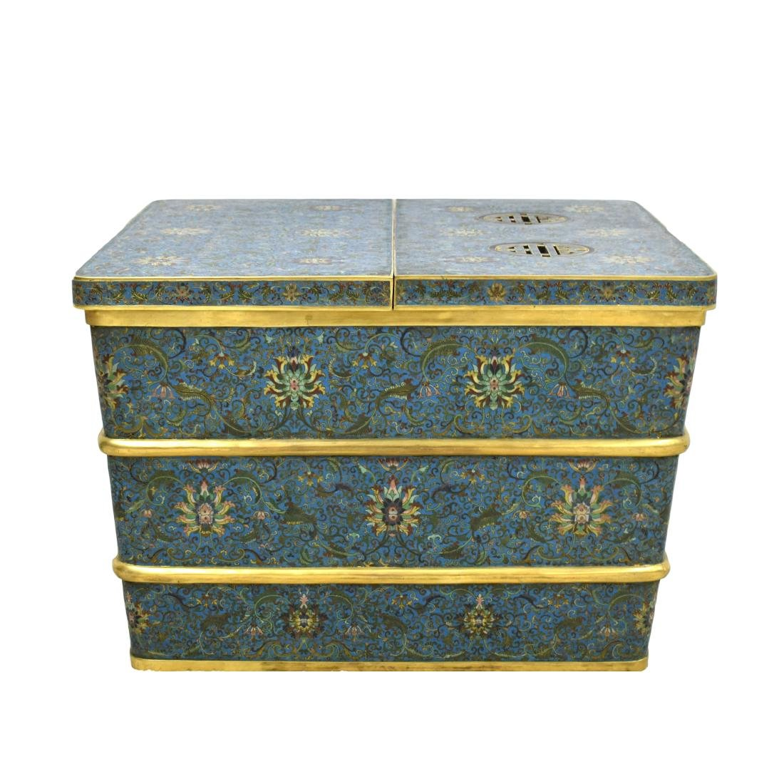LARGE GILT BRONZE CLOISONNE ICE CHEST