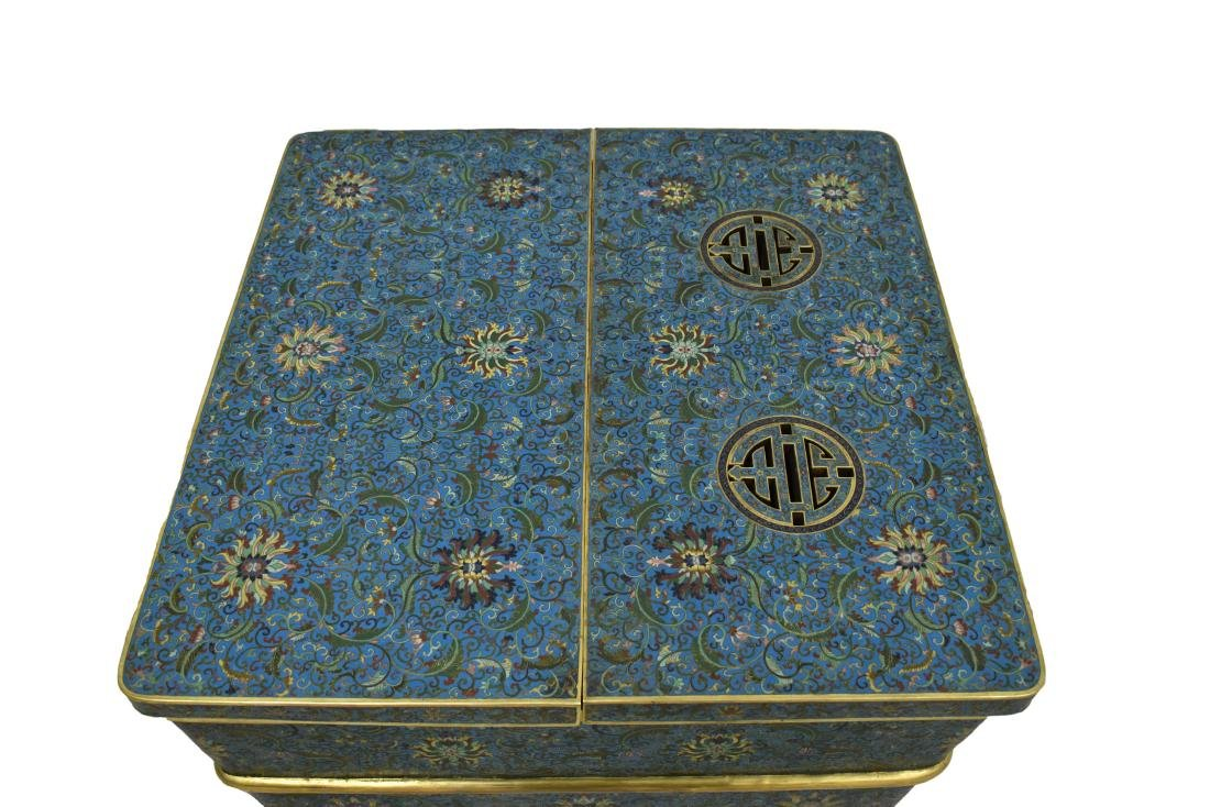 LARGE GILT BRONZE CLOISONNE ICE CHEST - 2