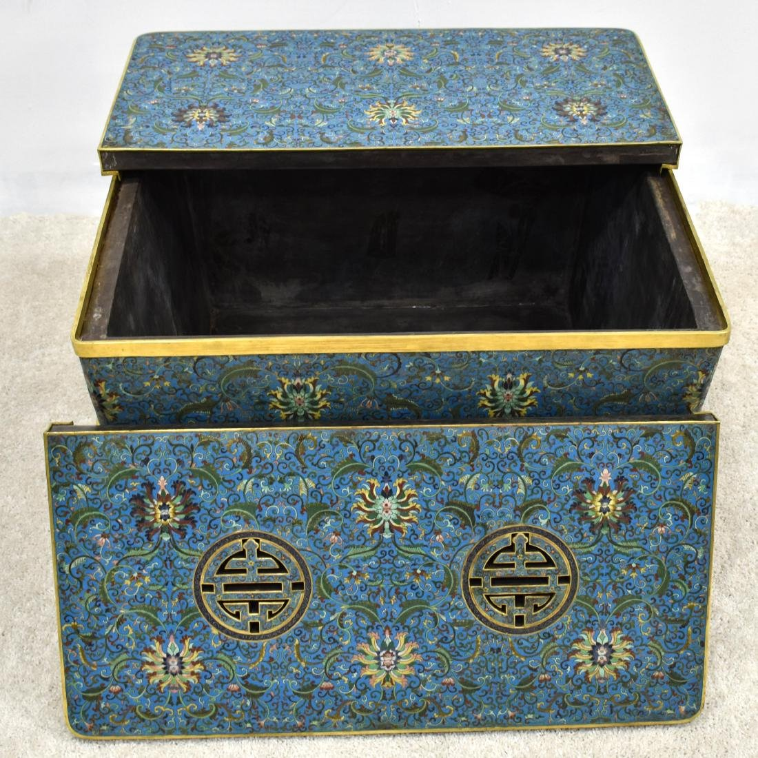 LARGE GILT BRONZE CLOISONNE ICE CHEST - 3