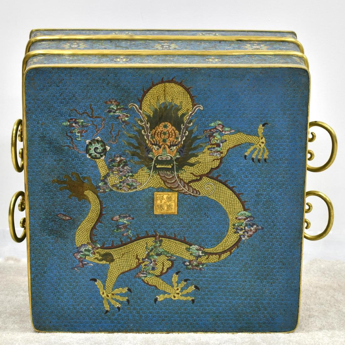 LARGE GILT BRONZE CLOISONNE ICE CHEST - 6