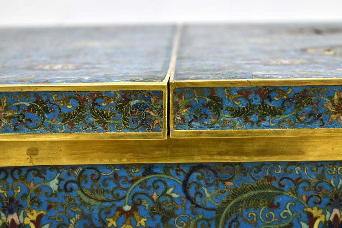 LARGE GILT BRONZE CLOISONNE ICE CHEST - 7