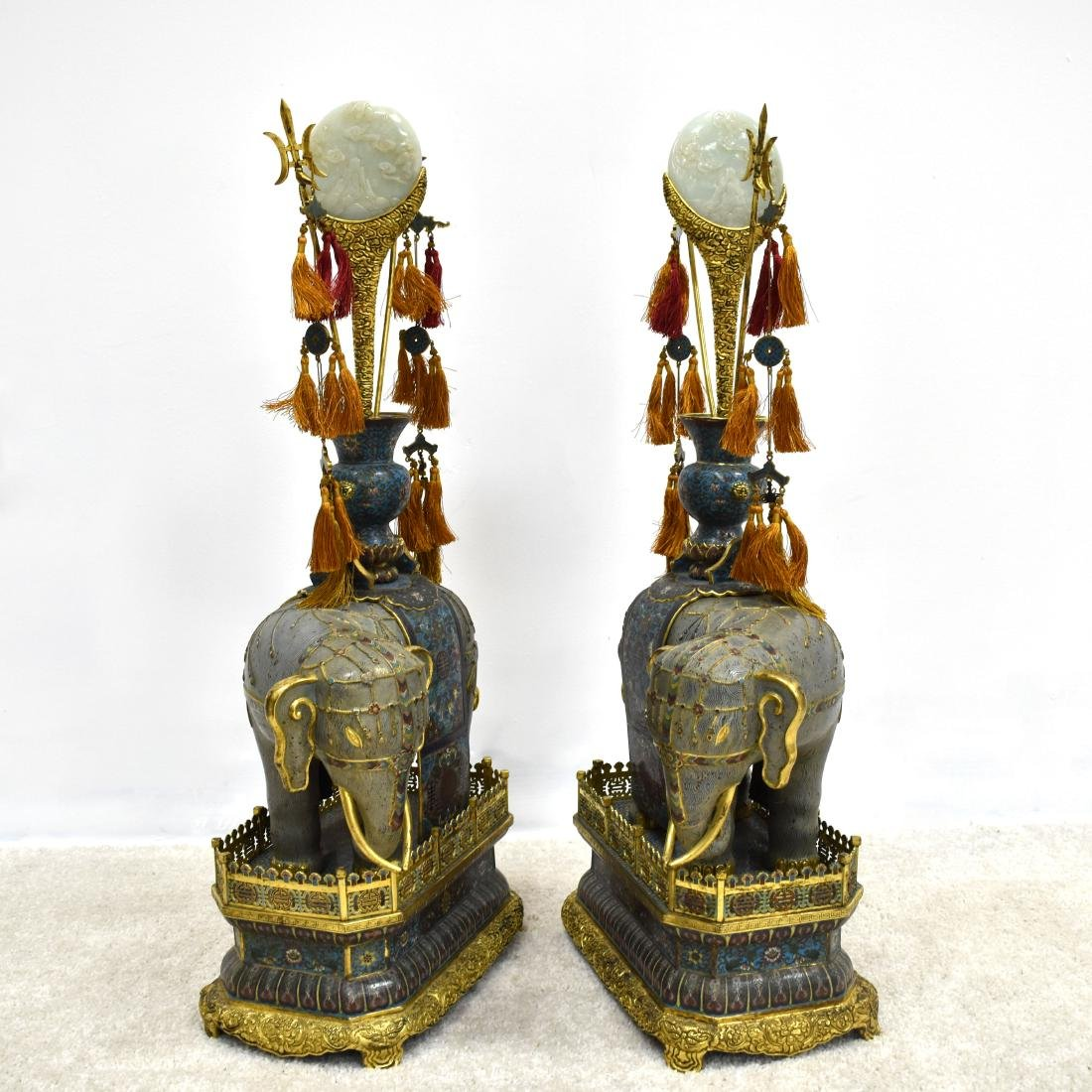 LARGE PAIR OF GILT BRONZE CLOISONNE ELEPHANTS - 10