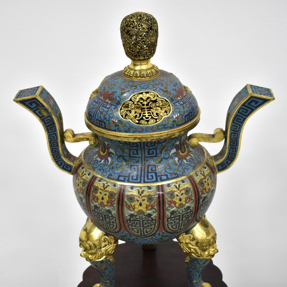 PAIR GILT BRONZE CLOISONNE TRIPOD CENSERS ON STAND - 3