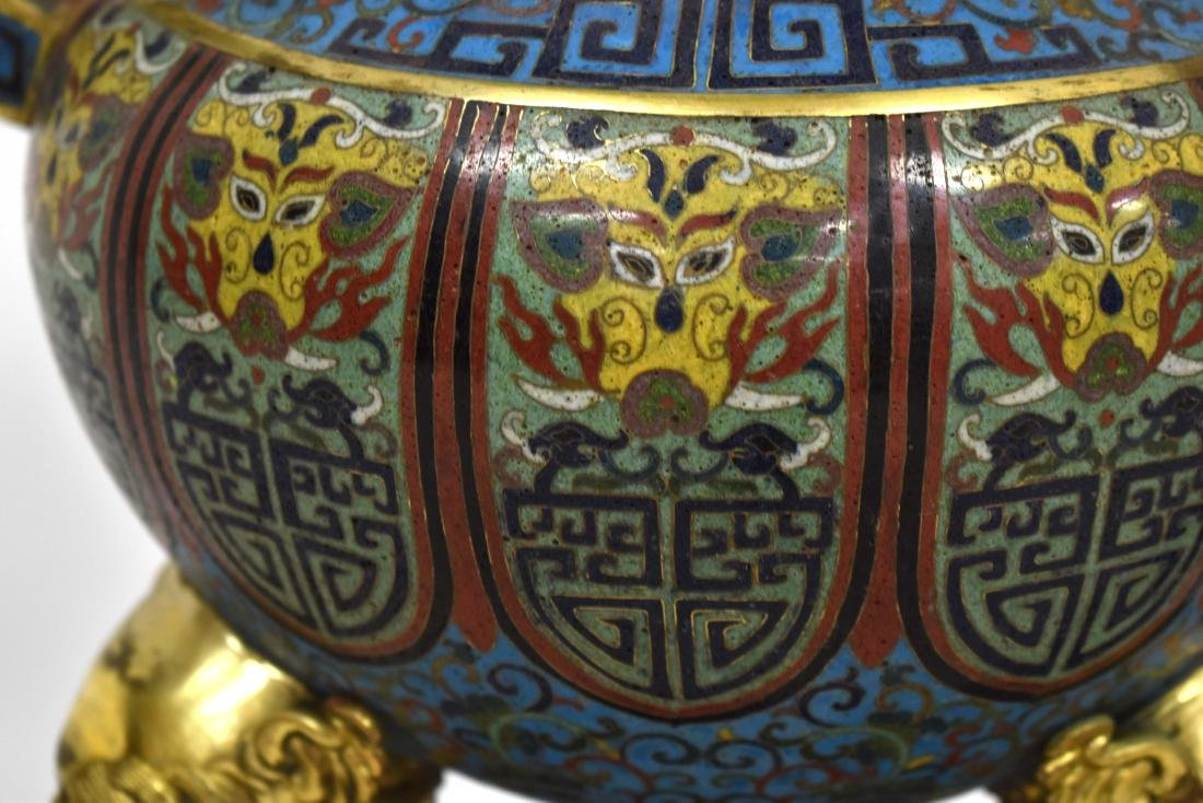 PAIR GILT BRONZE CLOISONNE TRIPOD CENSERS ON STAND - 6