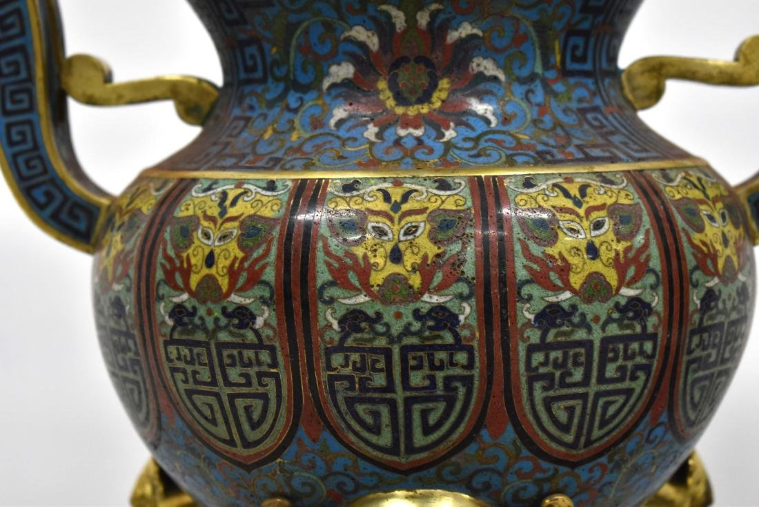 PAIR GILT BRONZE CLOISONNE TRIPOD CENSERS ON STAND - 8