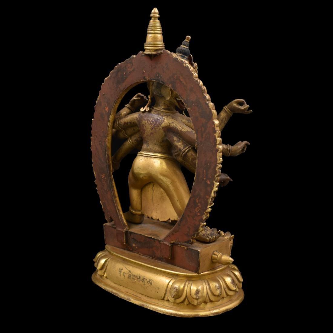 QIANLONG LARGE GILT BRONZE MARICHI BUDDHA - 12