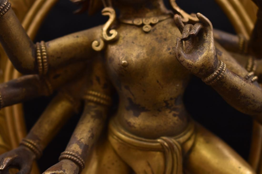 QIANLONG LARGE GILT BRONZE MARICHI BUDDHA - 4