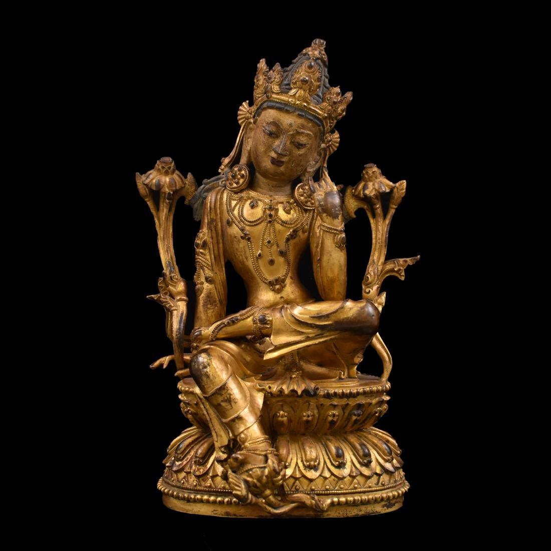 MING GILT BRONZE BUDDHA OF THE THINKING LOKESHVARA