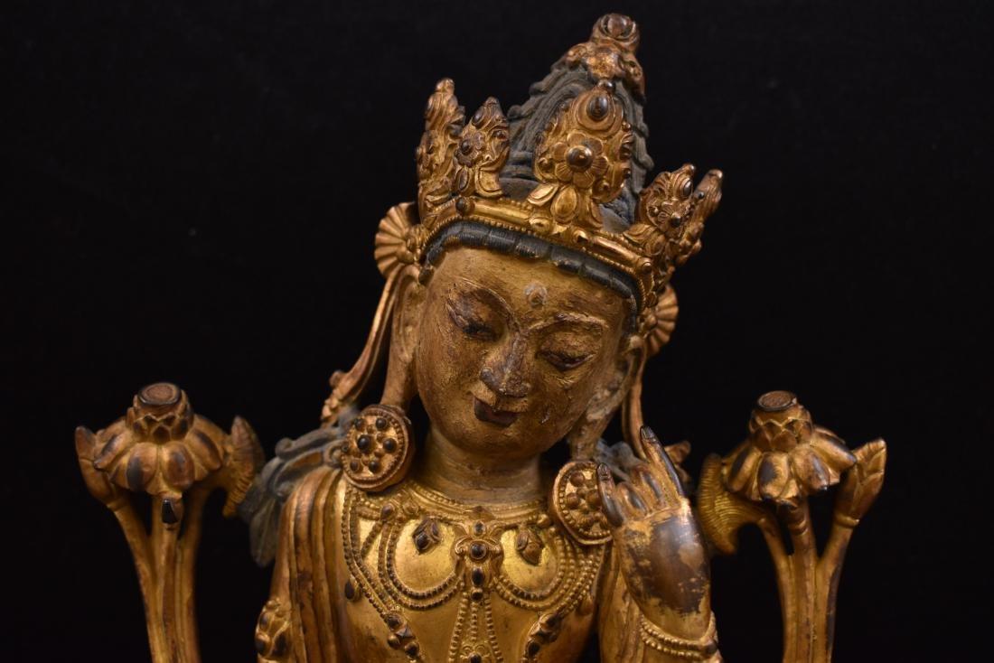 MING GILT BRONZE BUDDHA OF THE THINKING LOKESHVARA - 2