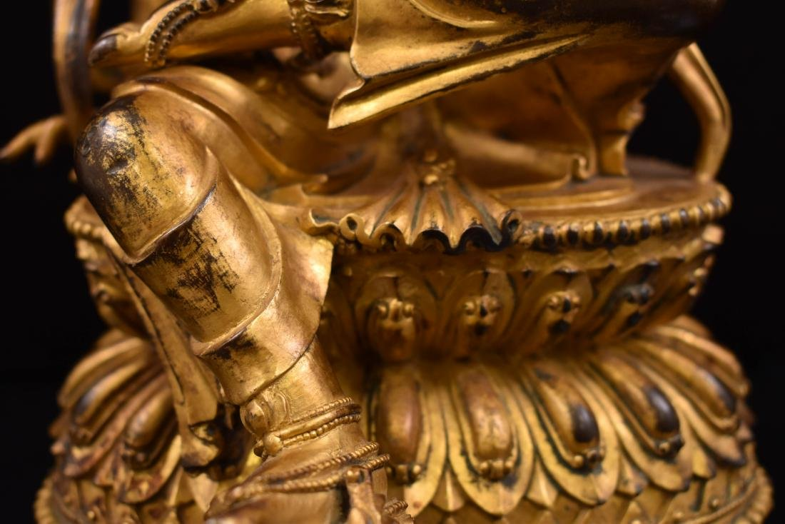 MING GILT BRONZE BUDDHA OF THE THINKING LOKESHVARA - 4