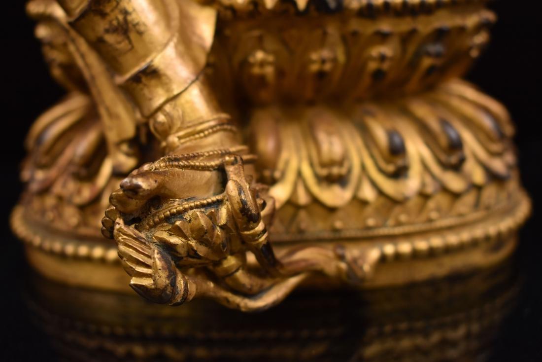 MING GILT BRONZE BUDDHA OF THE THINKING LOKESHVARA - 5