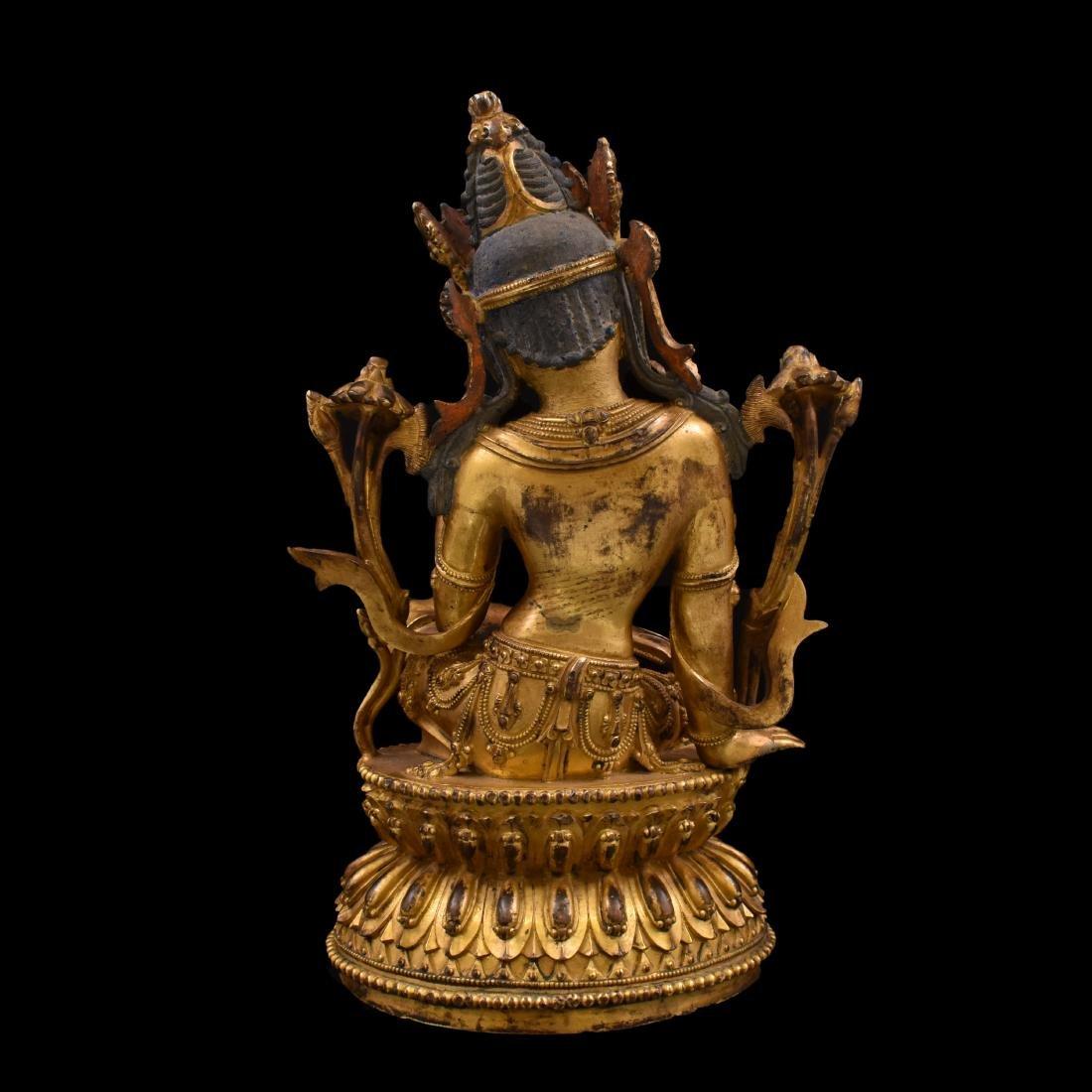 MING GILT BRONZE BUDDHA OF THE THINKING LOKESHVARA - 6