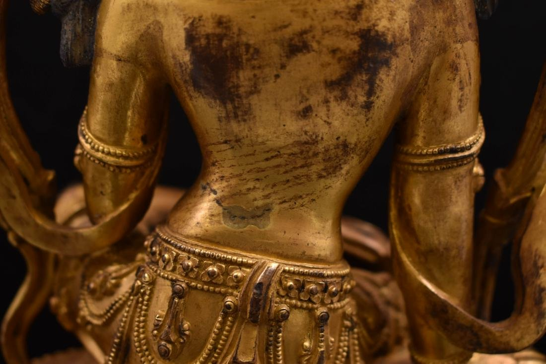MING GILT BRONZE BUDDHA OF THE THINKING LOKESHVARA - 7