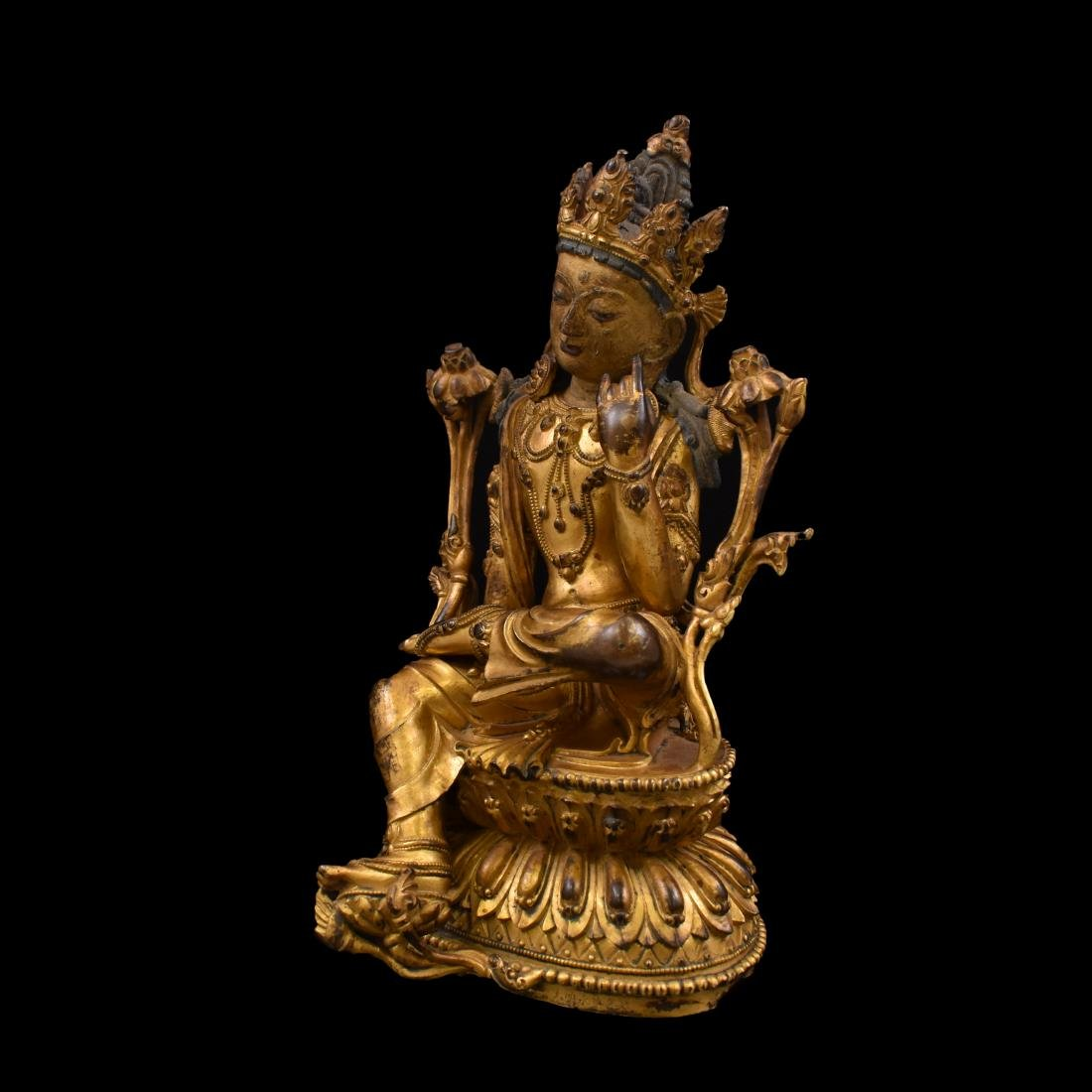 MING GILT BRONZE BUDDHA OF THE THINKING LOKESHVARA - 8