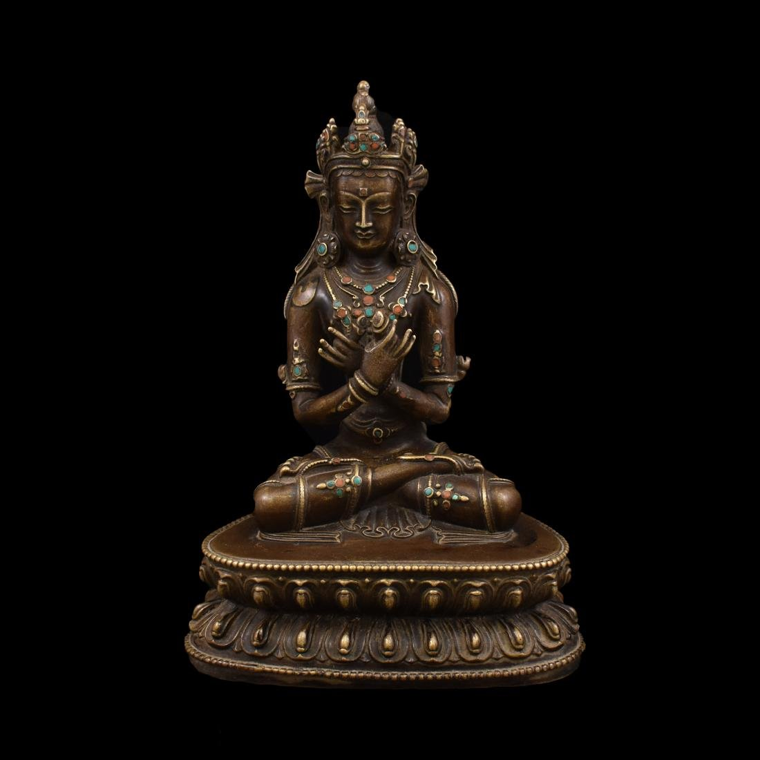 QING GILT BRONZE INLAID BUDDHA OF VAJRADHARA