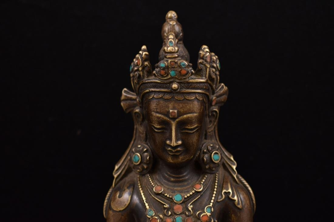 QING GILT BRONZE INLAID BUDDHA OF VAJRADHARA - 2