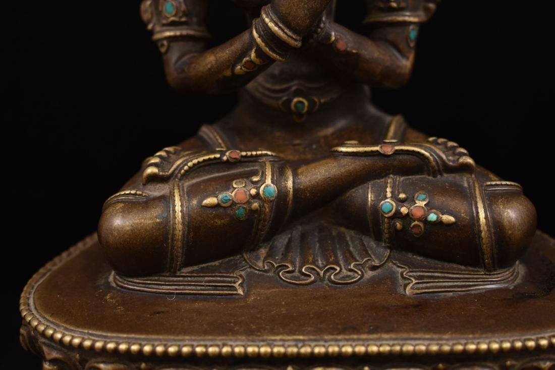 QING GILT BRONZE INLAID BUDDHA OF VAJRADHARA - 4