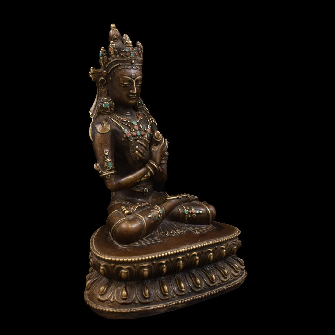 QING GILT BRONZE INLAID BUDDHA OF VAJRADHARA - 5