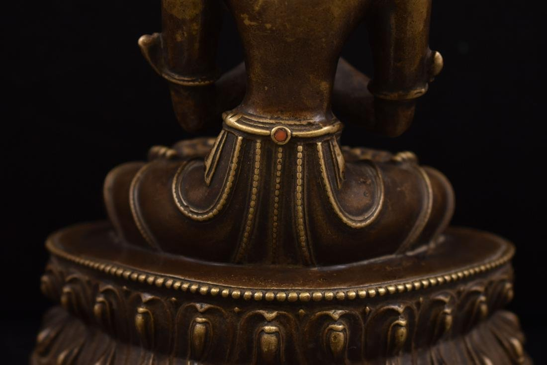 QING GILT BRONZE INLAID BUDDHA OF VAJRADHARA - 7