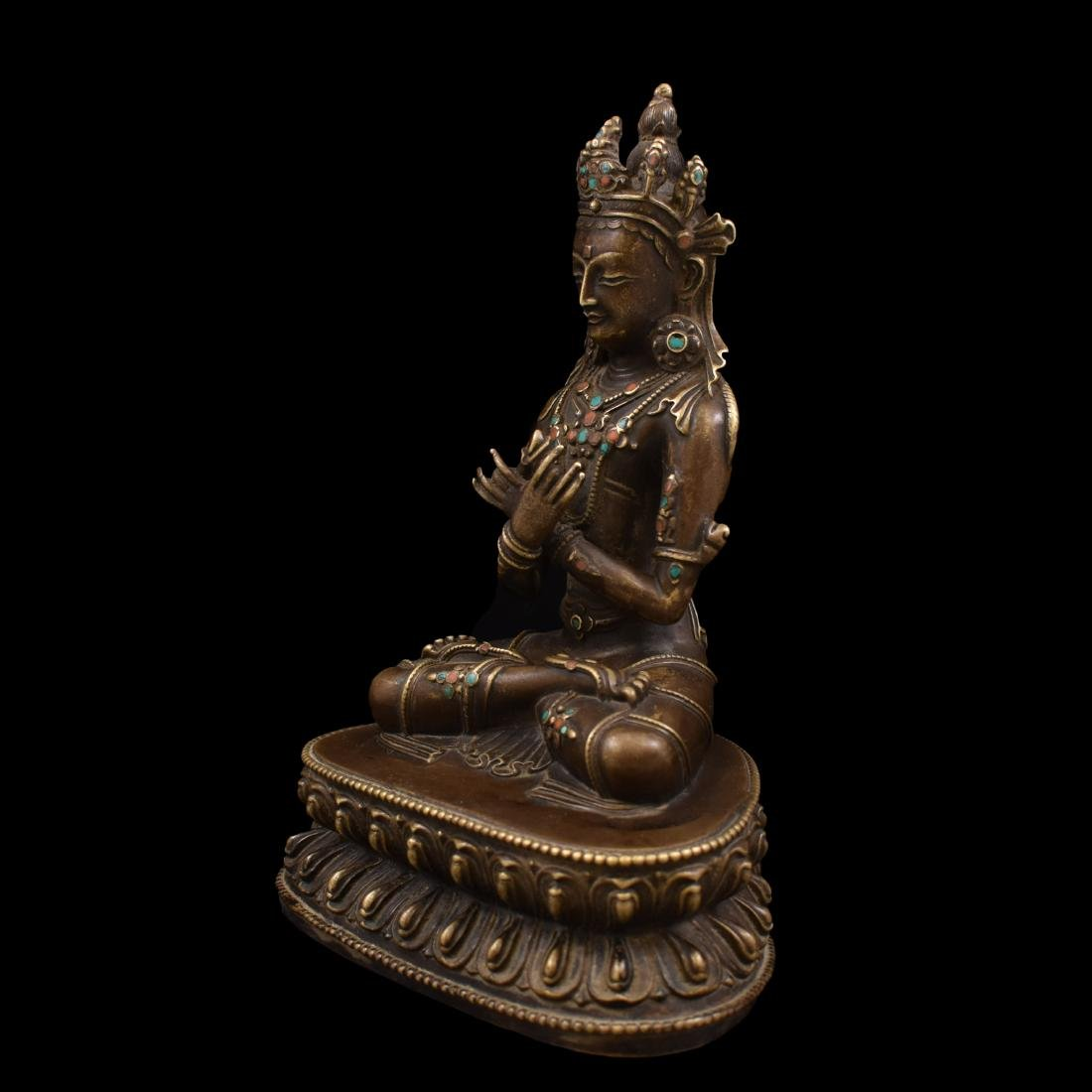 QING GILT BRONZE INLAID BUDDHA OF VAJRADHARA - 9