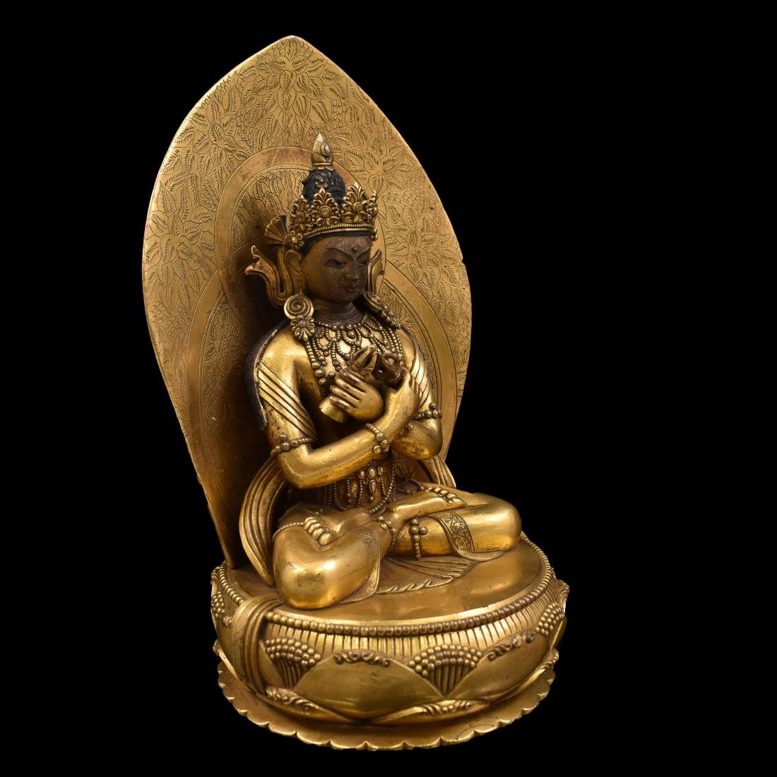 QING GILT BRONZE BUDDHA FIGURE OF VAJRADHARA & AUREOLA - 14