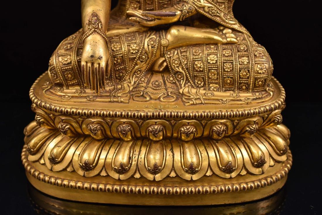 MING YONGLE GILT BRONZE CROWNED SHAKYAMUNI BUDDHA - 11