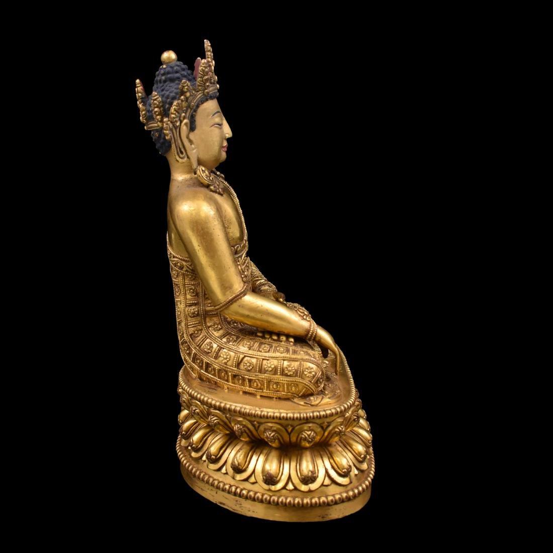 MING YONGLE GILT BRONZE CROWNED SHAKYAMUNI BUDDHA - 13