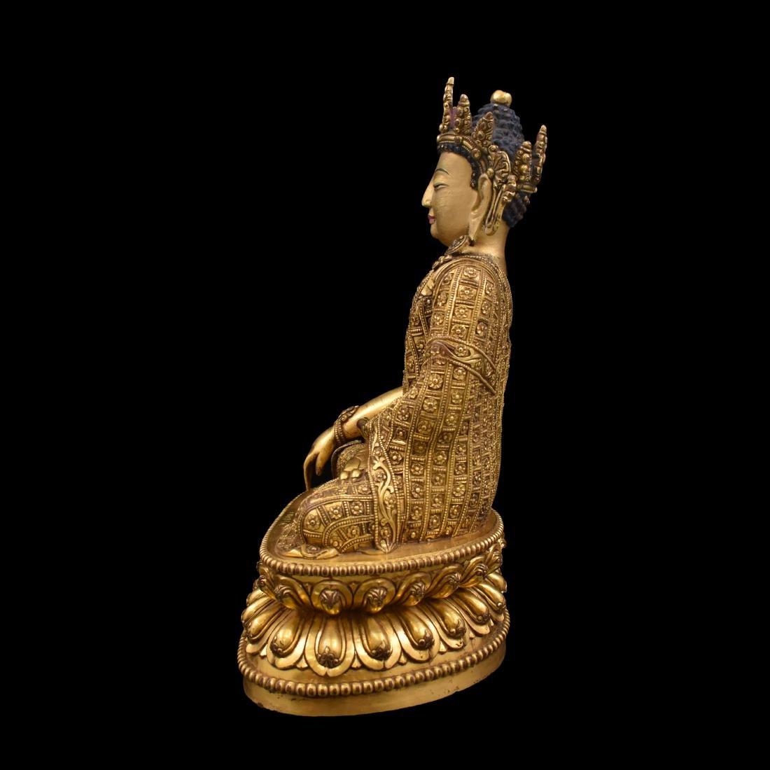 MING YONGLE GILT BRONZE CROWNED SHAKYAMUNI BUDDHA - 14