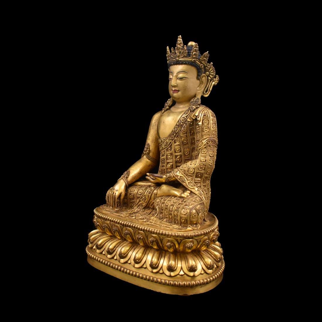 MING YONGLE GILT BRONZE CROWNED SHAKYAMUNI BUDDHA - 15