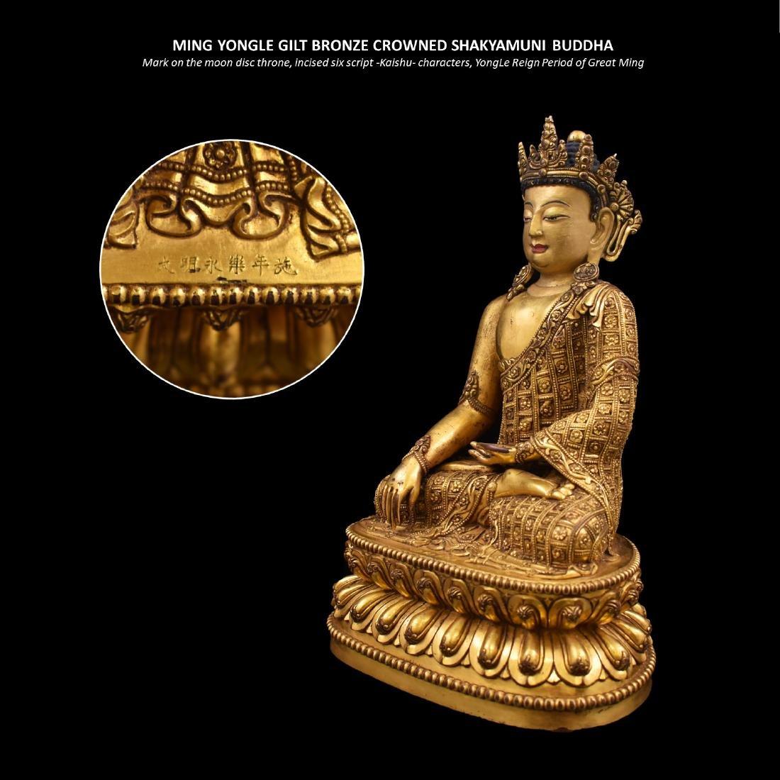 MING YONGLE GILT BRONZE CROWNED SHAKYAMUNI BUDDHA