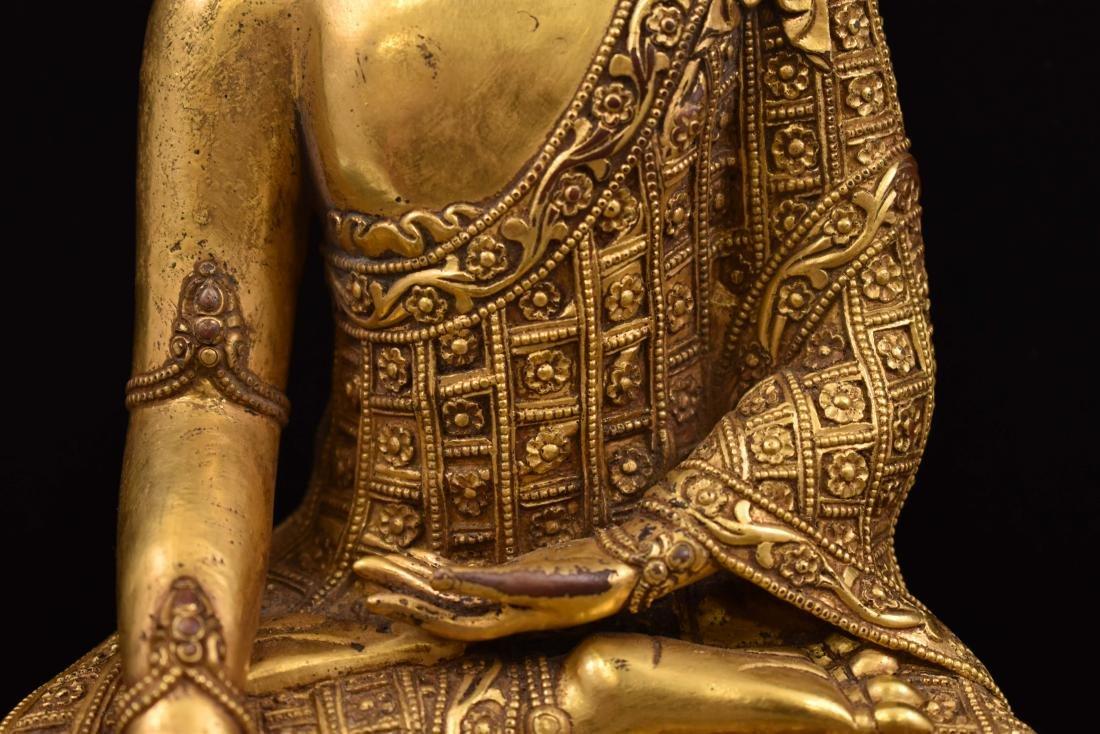 MING YONGLE GILT BRONZE CROWNED SHAKYAMUNI BUDDHA - 3