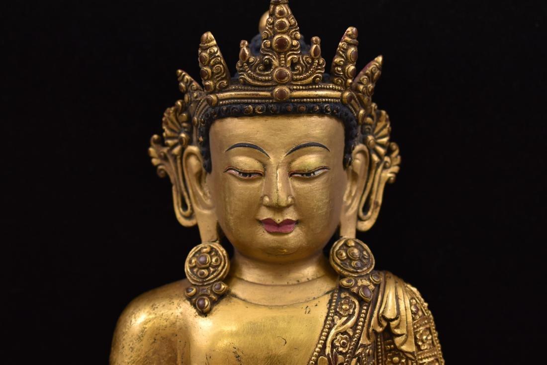 MING YONGLE GILT BRONZE CROWNED SHAKYAMUNI BUDDHA - 4