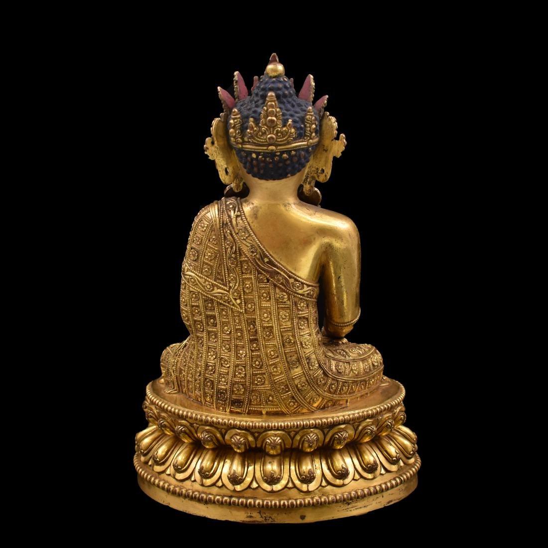 MING YONGLE GILT BRONZE CROWNED SHAKYAMUNI BUDDHA - 5