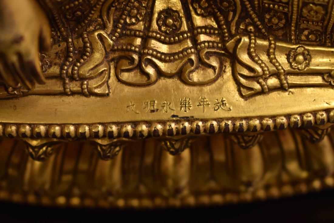 MING YONGLE GILT BRONZE CROWNED SHAKYAMUNI BUDDHA - 8