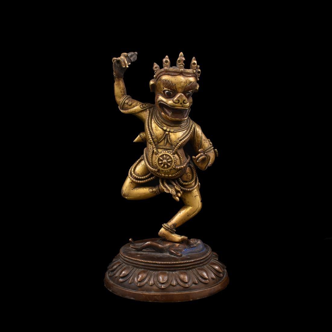 QING GILT BRONZE BUDDHA DEITIES OF TROMA NAGMO
