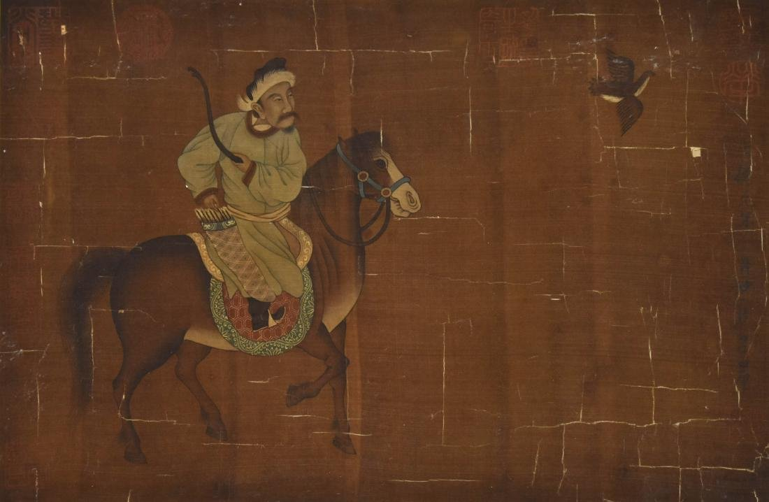 QING DYNASTY PAINTING OF HORSE RIDING WARRIOR