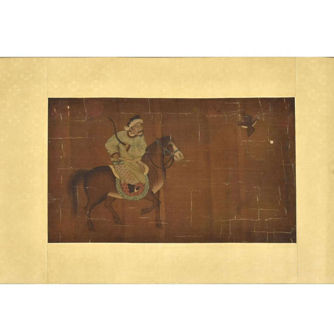 QING DYNASTY PAINTING OF HORSE RIDING WARRIOR - 2