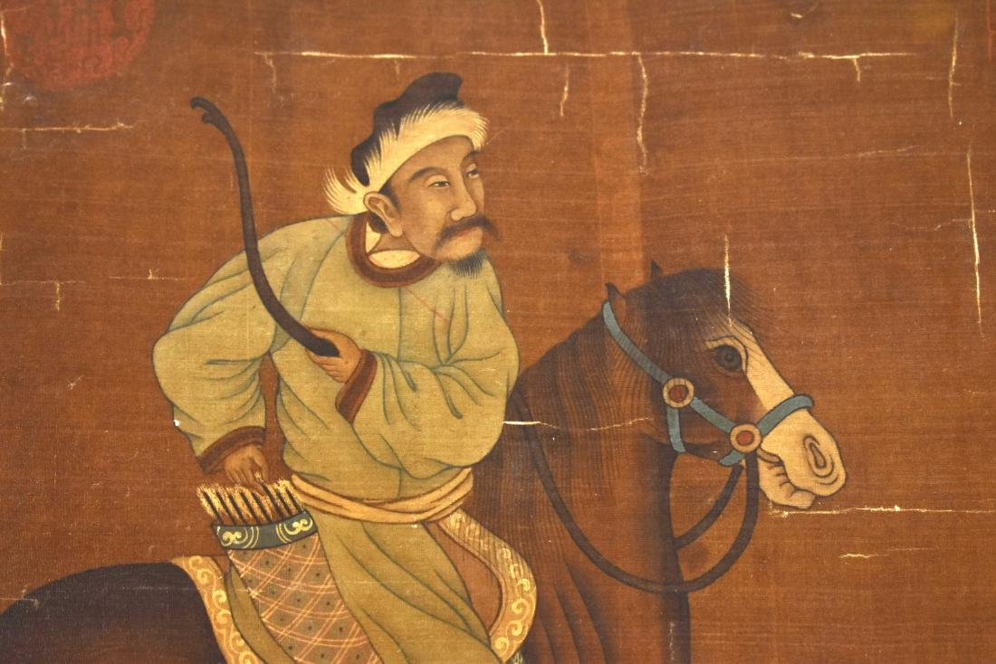 QING DYNASTY PAINTING OF HORSE RIDING WARRIOR - 3