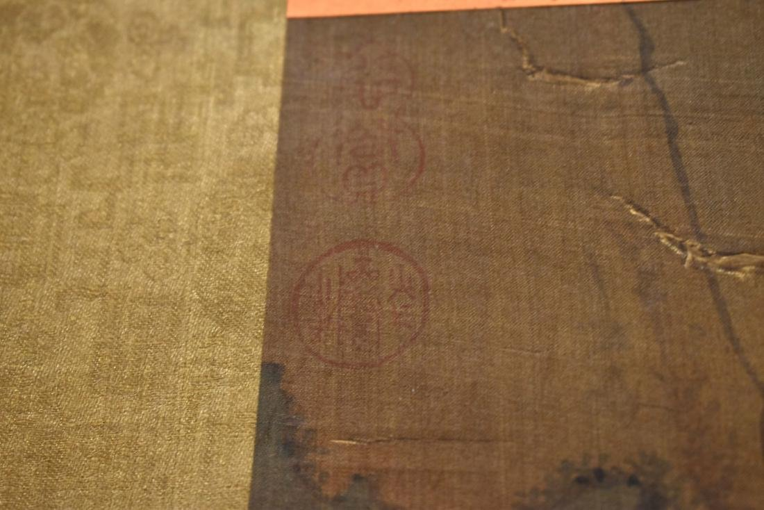 QING DYNASTY MOUNTAINOUS LANDSCAPE SILK SCROLL PAINTING - 10