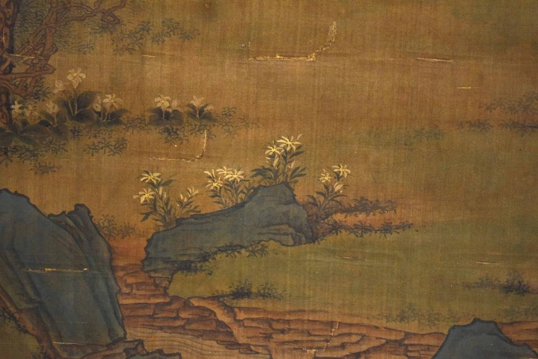 QING DYNASTY MOUNTAINOUS LANDSCAPE SILK SCROLL PAINTING - 3