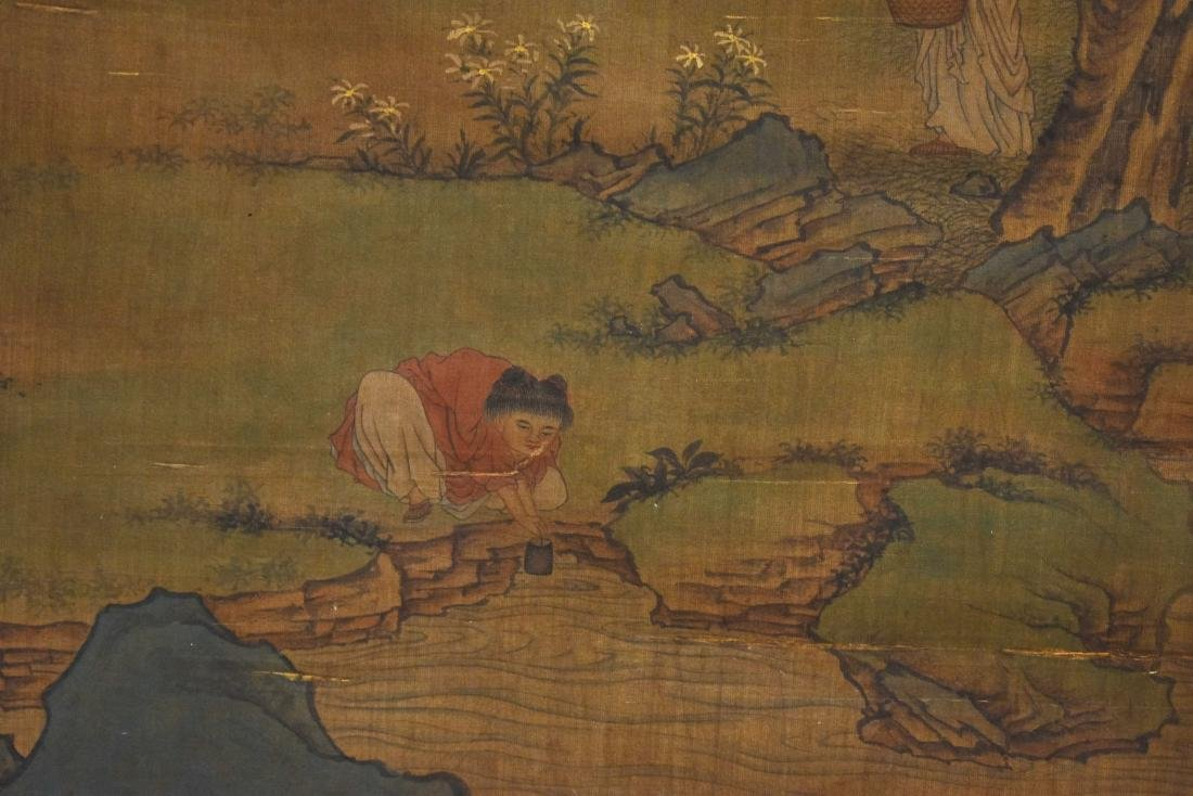 QING DYNASTY MOUNTAINOUS LANDSCAPE SILK SCROLL PAINTING - 4