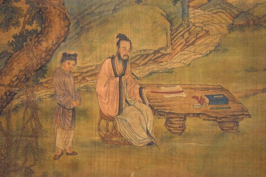 QING DYNASTY MOUNTAINOUS LANDSCAPE SILK SCROLL PAINTING - 5