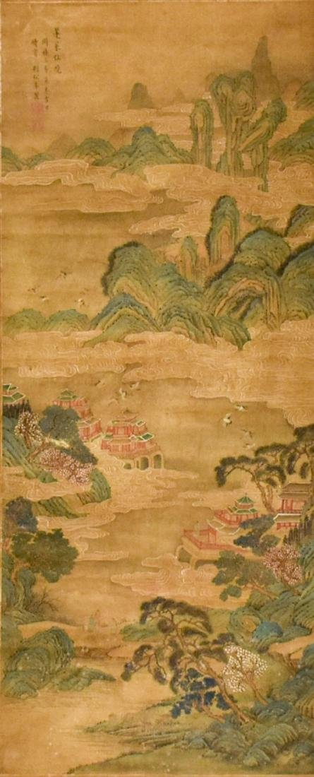 QING DYNASTY SCROLL PAINTING OF A MOUNTAINSIDE PAVILION