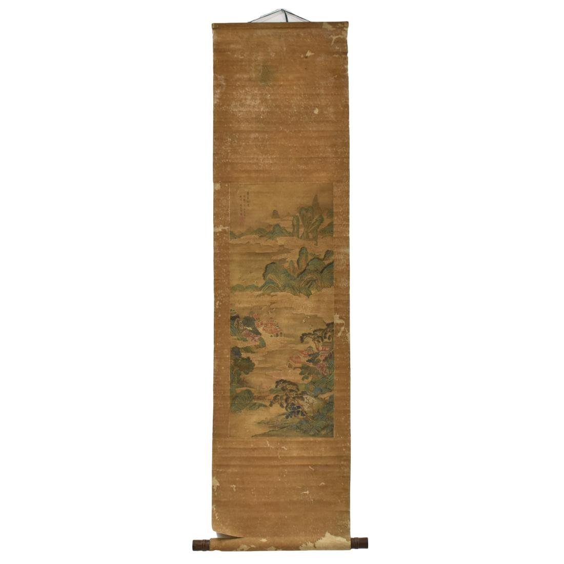 QING DYNASTY SCROLL PAINTING OF A MOUNTAINSIDE PAVILION - 2